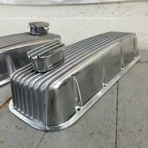 Finned Aluminum Engine Valve Covers W Pcv Breathers Big Block Chevy Bb 427 454