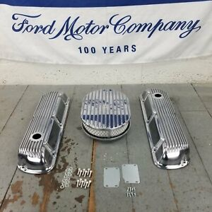 Ford Sbf 12 Finned Air Cleaner Valve Covers Engine Dress Up 260 289 302 351w V8