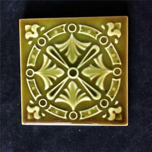 Antique American Encaustic Victorian 4 1 4 Square Green Pottery Tile Ohio