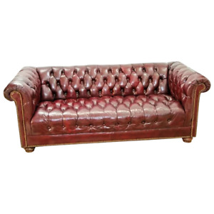 Chesterfield Leather Sofa Rolled Back And Arms Burgundy Vintage Couch