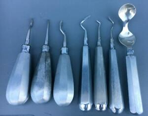 Lot Of 7 Dental Dentist Tools Please View Photos For Manufacturers good Cond