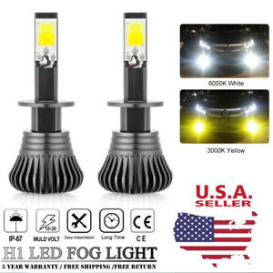 H1 White Amber Yellow 110w Led Fog Light Cree Cob Bulb Dual Color Headlight Kit
