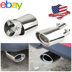 Universal Car Chrome Stainless Steel Rear Round Exhaust Pipe Tail Muffler Tip Us