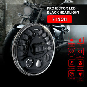 Universal 7inch Motorcycle Black Projector Led Headlight White Lamp Driving Car