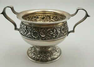 Repousse Sterling Silver Open Sugar Bowl By Kirk