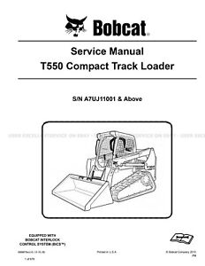 Bobcat T550 Compact Track Loader Printed Service Manual 2015 Update 6989679