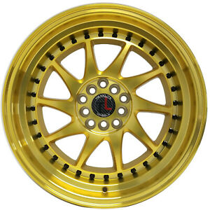 Traklite Turbo 5x100 114 3 17x9 Gold Wheels Stance Rims Set Of 4
