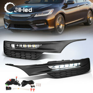For 2016 2017 Honda Accord Sedan Led Fog Lights Bumper Lamps wiring switch Pair