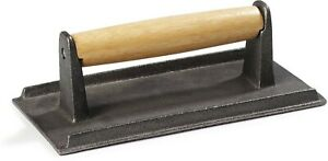 Carlisle 607410 Cast Iron Steak Weight With Wood Handle 3 X 4 25 X 8 25