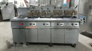 Used Frymaster 4 50lb Natural Gas Fryer With Filtration System And Dump