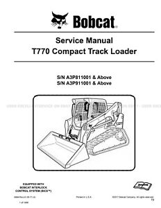 Bobcat T770 Compact Track Loader Printed Service Manual 2017 Update 6989476