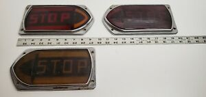 3 Old Vintage Hot Rod Bus Light Turn Signal Stop Glass Lenses