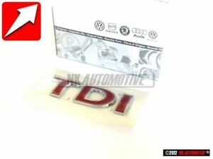 Original Vw Tdi Rear Trunk Boot Badge Emblem Red 1j0853675acgqf