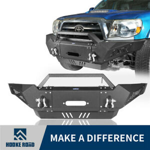 Hooke Road Steel Front Bumper W winch Plate Spotlights For Toyota Tacoma 05 15