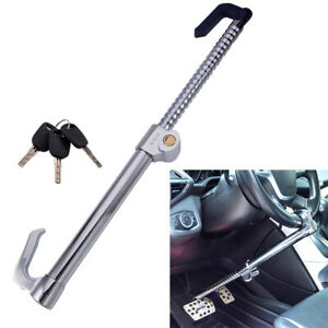 Double Hook Car Trunk Steel Steering Wheel Lock Anti Theft Extendable Stainless