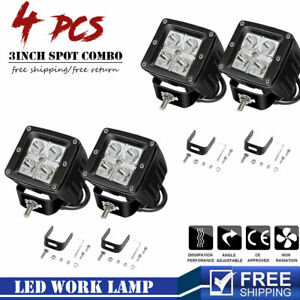 4x 3 In Spot Lamps Cube Led Fog Driving Light Fits For Jeep Toyota Chevy Suv
