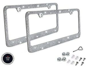 2 Silver Metal Diamond Bling Glitter License Plate Frame Cover Crystal Rhineston