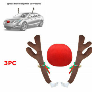Car Auto Christmas Red Plush Reindeer Antlers Nose W Jingle Bell Decorations