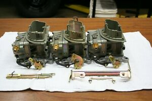 Original Small Block Ford Tri power Carbs With Air Cleaner Assembly Linkage