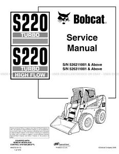 Bobcat S220 Turbo Highflow Skid Steer Printed Service Manual 2012 Update 6902722