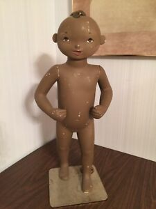 Vintage Greneker Wolf And Vine Dark Skinned Child Mannequin With Base Only