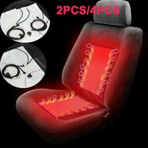 2 4x 12v Auto Car Seat Carbon Fiber Heated Seat Heating Heater Pad Kit Universal