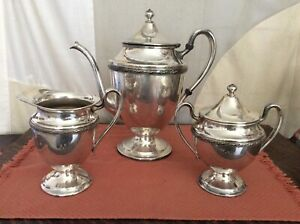 Vintage F B Rogers Silver Co 3 Piece Silverplate Coffee Teapot Sugar