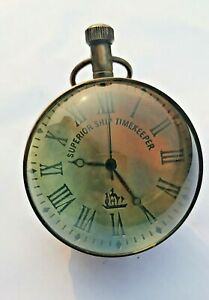 Brass Table Top Clock Paper Weight Antique Nautical Marine Collectible Gift