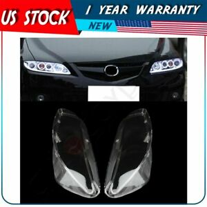 Pair Headlamp Cover Headlight Lens For 2003 2008 Mazda 6 Front Left Right