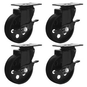 4 All Black Metal Swivel Plate Caster Wheels W Brake Heavy Duty 4 W Brake