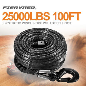 3 8 Synthetic Winch Rope 25000lbs 100ft Winch Line Cable Rope W Steel Hook