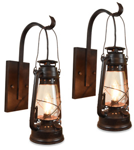 2 Lantern Wall Sconce Set Large Coal Miner Style Clear Glass