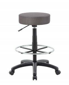 Gray Adjustable Work Shop Stool With Wheels Footrest Seat Rolling Swivel Chair