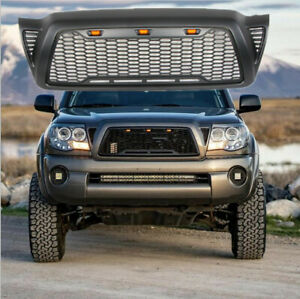Gloss Black Abs Honeycomb Hood Grille For 2005 2011 Toyota Tacoma W Led Lights