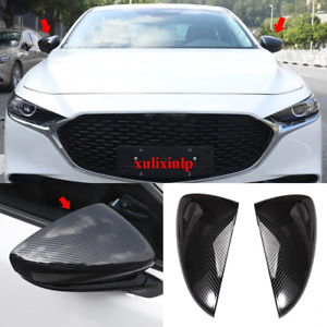 2x For 2019 2020 New Mazda 3 Carbon Fiber Look Side Rear View Mirror Cover Trim