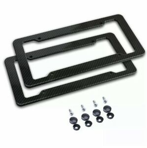 2x Carbon Fiber License Plate Frame Tag Cover Protection Rack Universal Standard