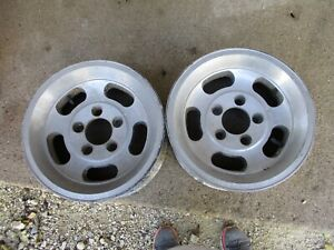 Pair 2 Vintage Appliance Slot Mag Wheel 14x6 5 On 4 7 Small Chevrolet Gm Alloy