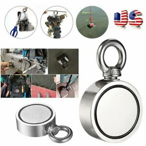 Double Sided 80kg Super Strong Neodymium Fishing Salvage Magnet Pulling Force Us