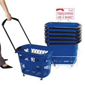 Plastic Rolling Shopping Basket In Blue 20 W X 12 D X 14 5 H Inches Case Of 6