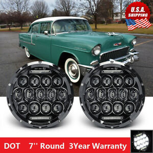 7 Round Led Headlights For 1953 1957 Chevrolet Bel Air 150 210 Impala Camaro