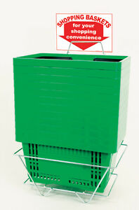 Green Shopping Baskets 16 X 12 X 9 Inches With Plastic Handles Pack Of 12