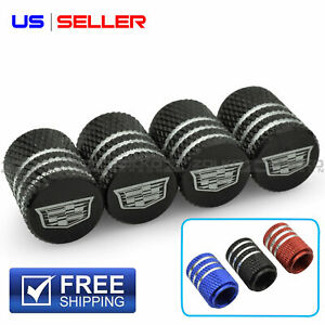 Valve Stem Caps Wheel Tire For Cadillac Laser Etched Aluminum Us Seller