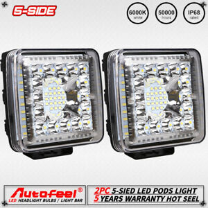 2x Pods Led Work Light Spot Lights For Truck Off Road Tractor 12v 24v Square