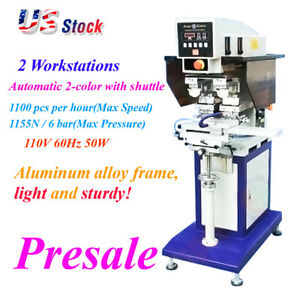 Us Stock 110v 50w 2 Color Pneumatic Pad Printer With Sealed Ink Cup And Shuttle