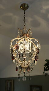 Antique Italian Macaroni Crown Chandelier Crystal Colored Prisms Pendant