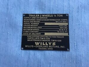 Willy s Mb 1 4 Ton Jeep Trailer Nomenclature Plate Nos Brass Or Aluminum