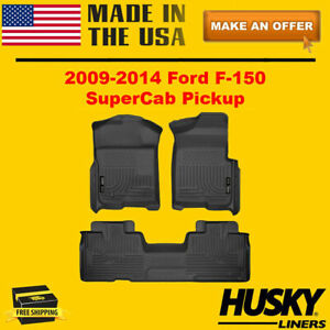 Husky Weatherbeater Floor Mats For 2009 2014 Ford F 150 Supercab Or Extended Cab