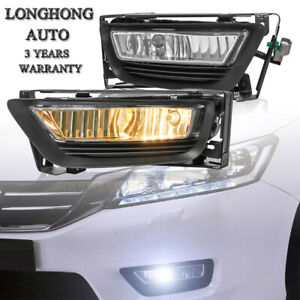 Pair L R Clear Fog Lights Front Lamps For 13 15 Honda Accord 4 Dr Sedanw Bulbs