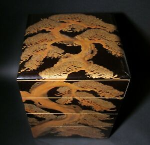 Japanese Jubako Lacquer Stacked Boxes Unique Lids Tea Ceremony Food Containers