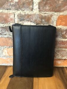 Day Timer Binder Planner Black 7 Ring Simulated Leather Inserts Hole Punch